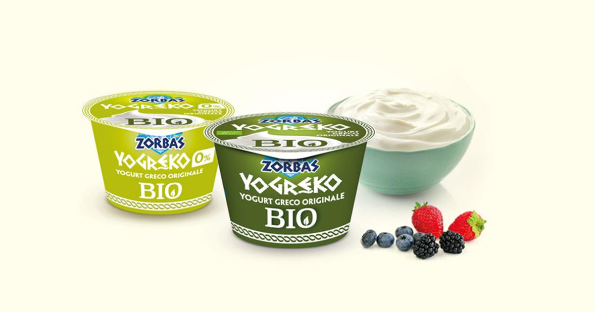 il packaging biologico degli yogurt zorbas